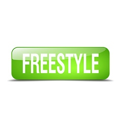Freestyle green square 3d realistic isolated web vector