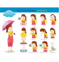 Girl with monsoon diseases symptoms set vector