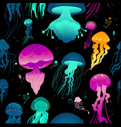 glowing colorful jellyfish on black background vector image
