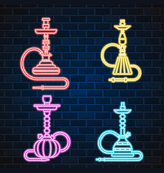 Glowing neon sign oriental culture smoke cloud vector