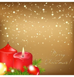Gold Christmas Card With Red Candle vector image