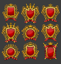 Golden coat arms set vector