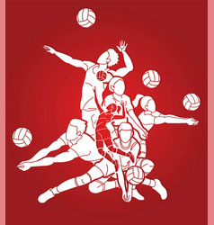 group volleyball players action cartoon graphic vector image