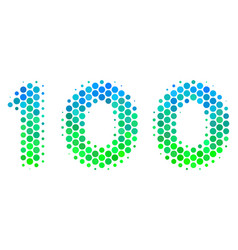 halftone blue-green 100 text icon vector image