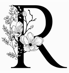 Hand drawn floral uppercase r monogram and vector