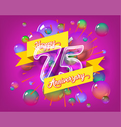 happy 75th anniversary glass bulb numbers set vector image