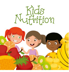 Happy kids with nutrition food vector