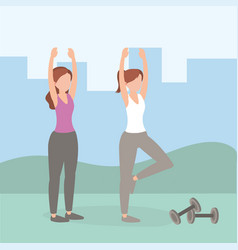 Healthy women athlete doing exercise vector