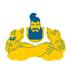 hipster with beard and tattoo fashionable stylish vector image