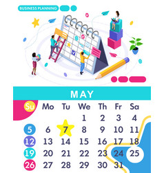 isometric calendar of 2019 business planning vector image