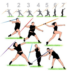 Javelin silhouettes athletes set vector