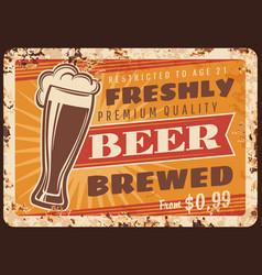 local brewery beer rusty metal plate vector image