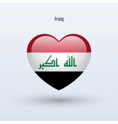 Love Iraq symbol Heart flag icon vector