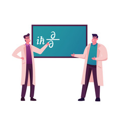 Male scientists characters stand at chalkboard vector
