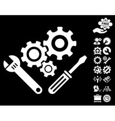 Mechanics Tools Icon with Tools Bonus vector image