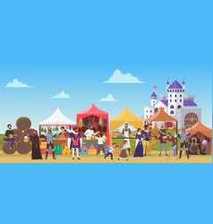 Medieval fair cartoon flat vector