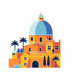 Mediterranean classic cathedral or church vector