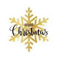 Merry Christmas gold glittering design vector