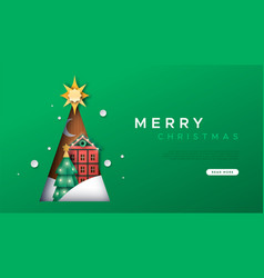 Merry christmas paper cut winter house template vector