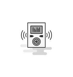 music player web icon flat line filled gray icon vector image