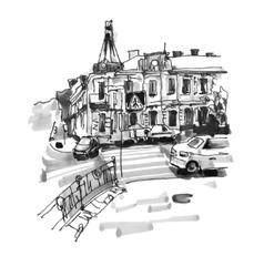 original hand draw marker sketch of Kyiv building vector image