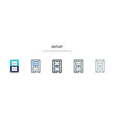 Outlet icon in different style two colored vector
