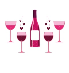 Pink wine glasses and bottle vector