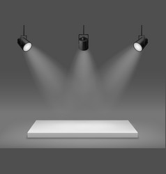 podium with spotlights illuminated empty pedestal vector image