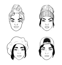 portraits girls with different headpieces vector image