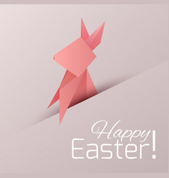 postcard with origami paper rabbit with vector image