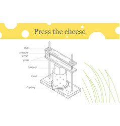Press the cheese one line vector