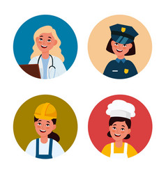 professional female avatar workers women vector image