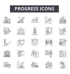 progress line icons signs set outline vector image
