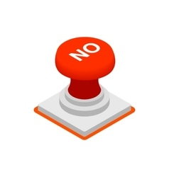 Push button NO icon isometric 3d style vector image vector image