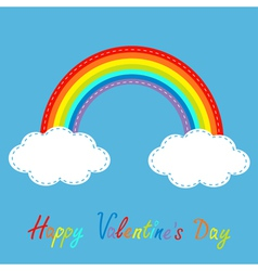 Rainbow in the sky Dash line Happy Valentines Day vector image