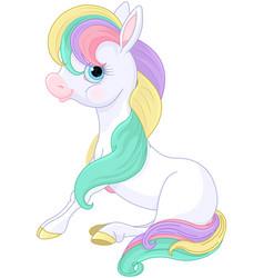 Rainbow pony standing vector