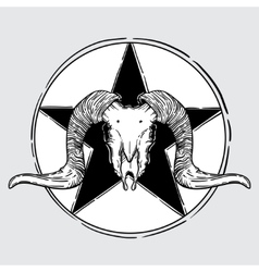 Ram skull occult symbol vector