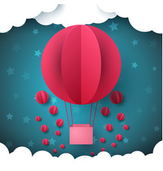 red circle air balloon sky paper vector image