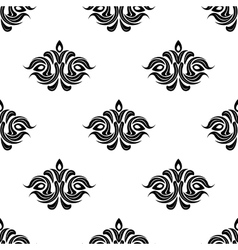 Seamless floral pattern with black flowers vector