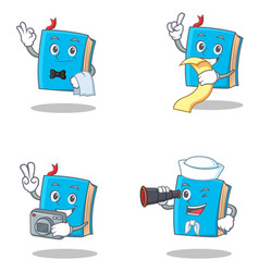 Set of blue book character with waiter menu photo vector