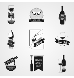 Set of wine logo or poster concepts vector