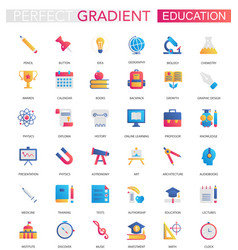 set trendy flat gradient education icons vector image