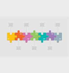 seven pieces jigsaw puzzle square line infographic vector image