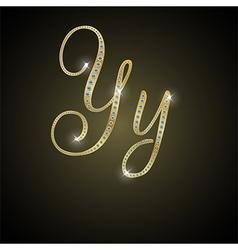 Shiny alphabet y gold and diamond vector