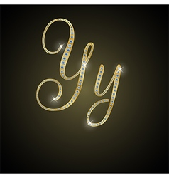 Shiny alphabet Y of gold and diamond vector image