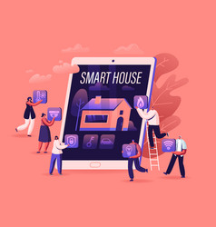 smart house app concept people at huge tablet vector image
