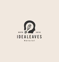 smart human head think bulb leaf idea logo vector image