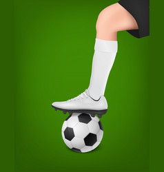 Soccer player with ball leg of a football vector