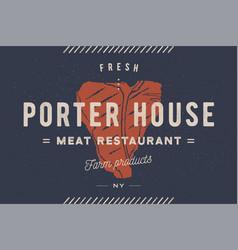 steak logo meat label logo with vector image