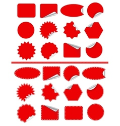 Sticker label set Red sticky isolated on white vector